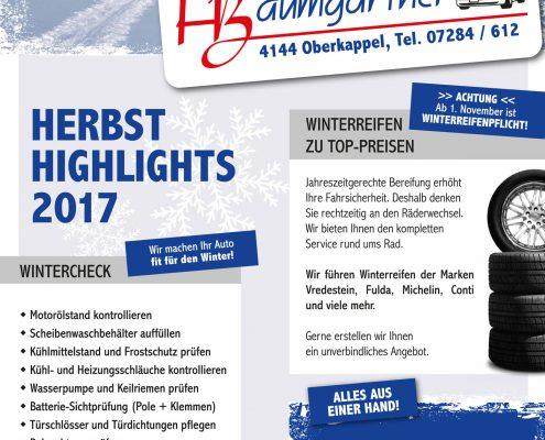 KFZ-Baumgartner Herbsthighlights 2017