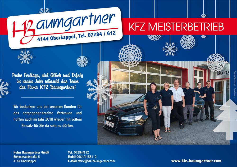 KFZ Baumgartner wünscht frohe Weihnachten