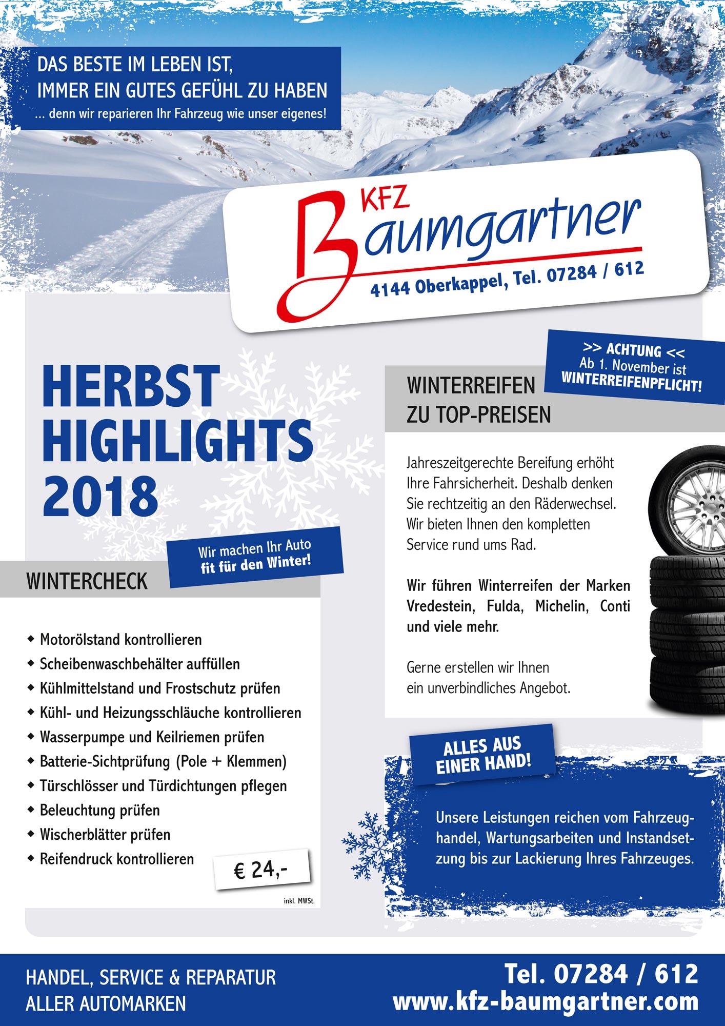 KFZ-Baumgartner Herbsthighlights 2018